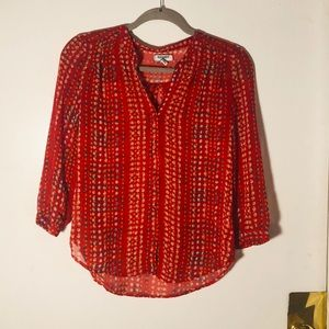 Red Patterned Sheer Blouse
